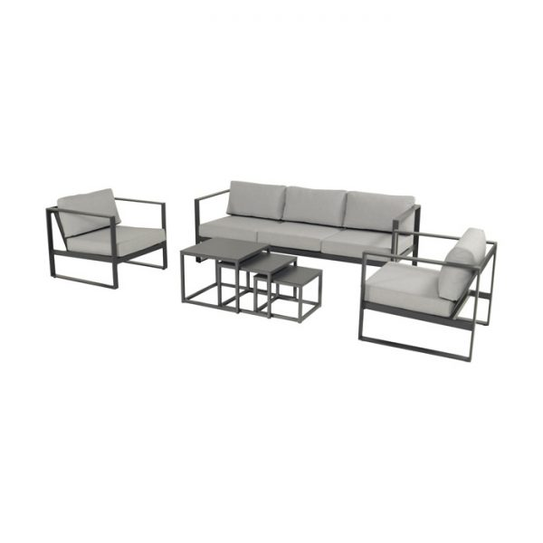 STRASSBOURG LOUNGE SET ALU CHARCOAL