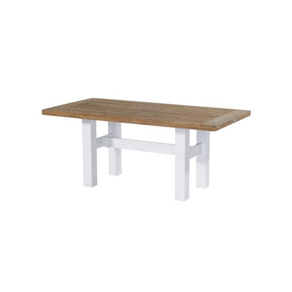 YASMANI-TABLE-180X90CM-ALU-WHITE–TEAK-TOP