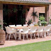 sophie chair with yasmani table 300x100cm teak top