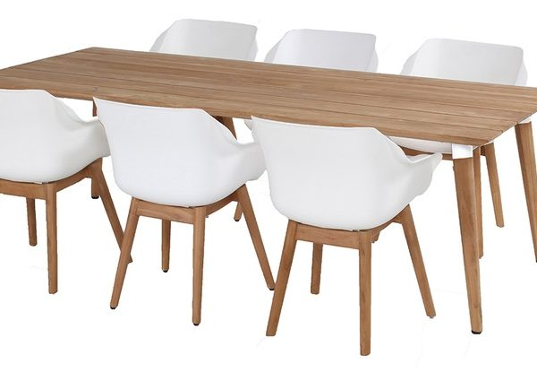sophie table 240x100cm teak with sophie chair white